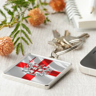 [500] City of London - Coat of Arms Silver-Colored Square Key Ring