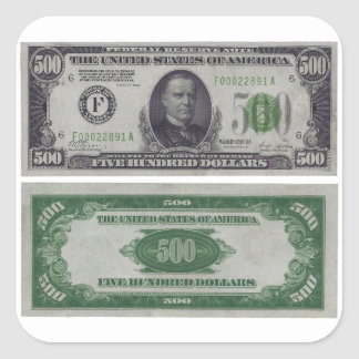 500 Dollar Federal Reserve Gold Certificate Square Sticker