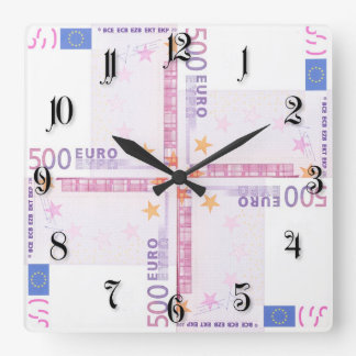 500 euro pattern square wall clock