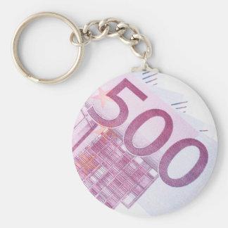 500 Euros Basic Round Button Key Ring