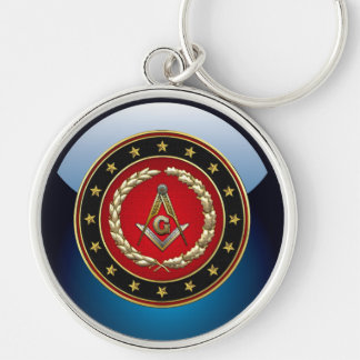 [500] Masonic Square and Compasses [3rd Degree] Silver-Colored Round Key Ring