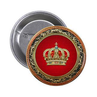 [500] Prince-Princess King-Queen Crown [Belg.Gold] 6 Cm Round Badge