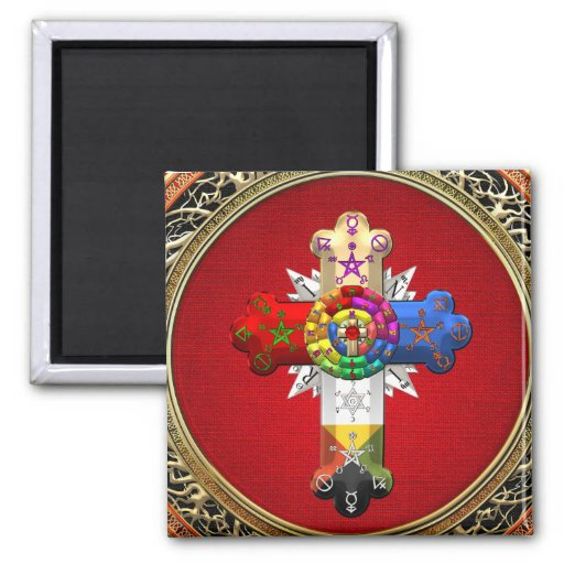 [500] Rosy Cross (Rose Croix) on Red & Gold Magnets