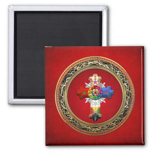 [500] Rosy Cross (Rose Croix) on Red & Gold Fridge Magnets