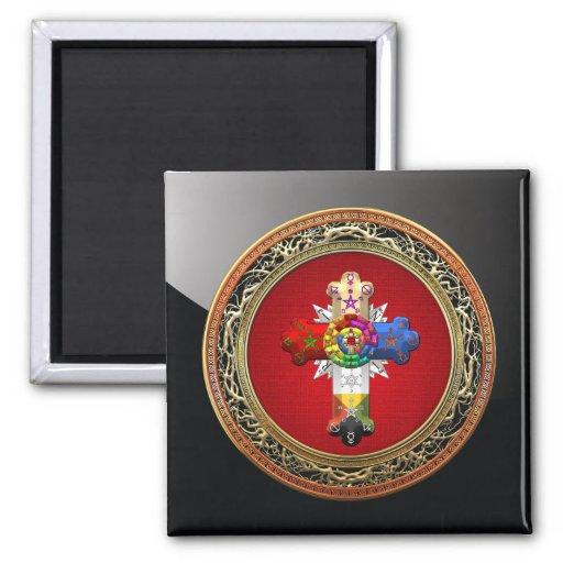 [500] Rosy Cross (Rose Croix) on Red & Gold Fridge Magnet
