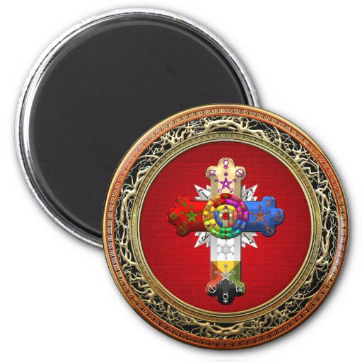 [500] Rosy Cross (Rose Croix) on Red & Gold Refrigerator Magnet