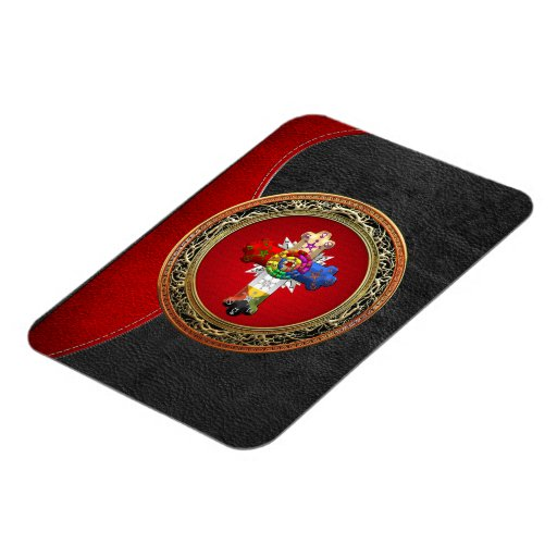[500] Rosy Cross (Rose Croix) on Red & Gold Rectangle Magnet