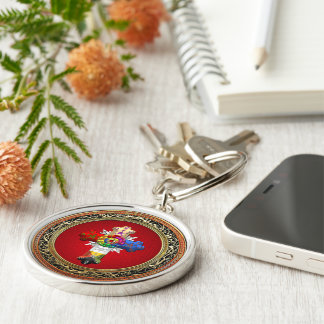 [500] Rosy Cross (Rose Croix) on Red & Gold Silver-Colored Round Key Ring