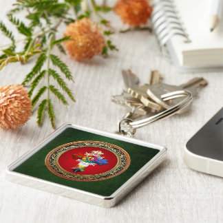 [500] Rosy Cross (Rose Croix) on Red & Gold Silver-Colored Square Key Ring