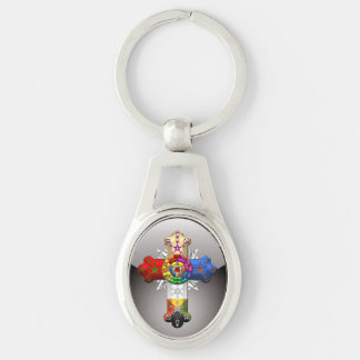 [500] Rosy Cross (Rose Croix) Silver-Colored Oval Key Ring