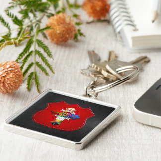 [500] Rosy Cross (Rose Croix) Silver-Colored Square Key Ring