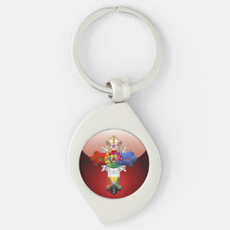 [500] Rosy Cross (Rose Croix) Silver-Colored Swirl Key Ring