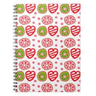501 Cute Christmas dessert graffiti pattern.jpg Spiral Notebooks