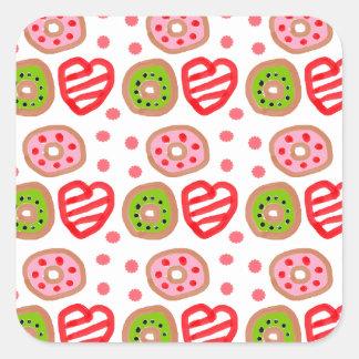 501 Cute Christmas dessert graffiti pattern.jpg Square Sticker