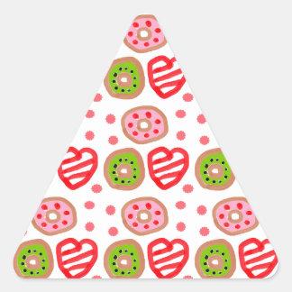 501 Cute Christmas dessert graffiti pattern.jpg Triangle Sticker