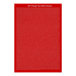 501 Things You Didn't Know (Light Red) Poster