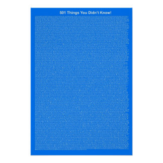 501 Things You Didn't Know (Royal Blue) Poster