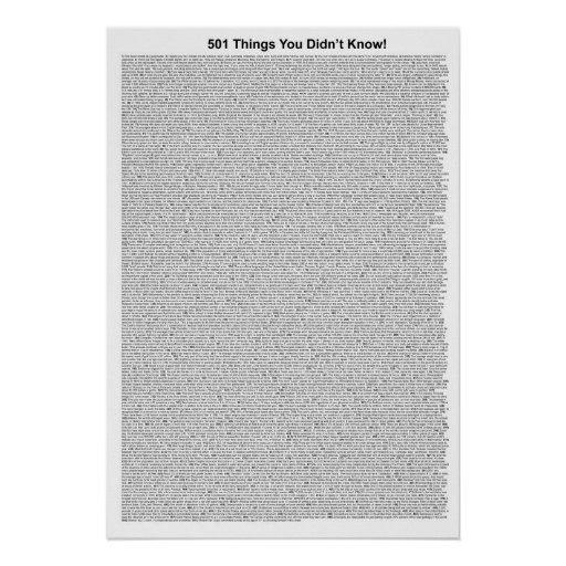 501 Things You Didn't Know (White) Posters