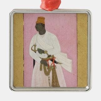 50.14/8 Portrait of Malik Amber, inscribed in Deva Silver-Colored Square Decoration