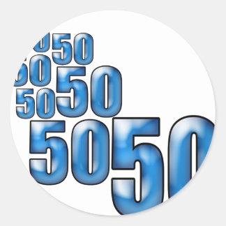 50 50 50 ROUND STICKER