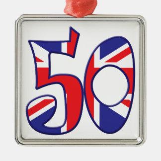 50 Age UK Silver-Colored Square Decoration