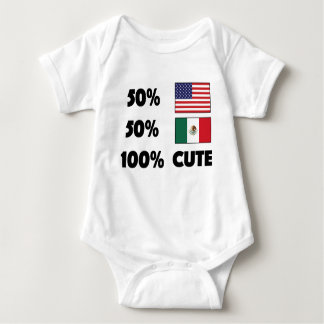 50% American 50% Mexican 100% Cute Baby USA Mexico Baby Bodysuit