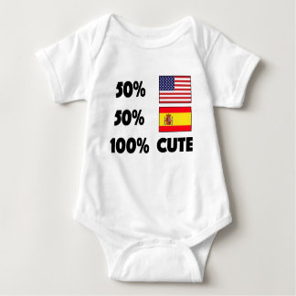 50% American 50% Spanish 100% Cute Baby USA Spain Baby Bodysuit