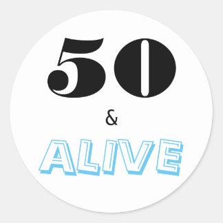 50 and Alive | Typography Fiftieth Anniversary Round Sticker