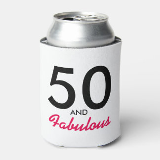 50 and Fabulous 50th Birthday Can Cooler Gift Idea