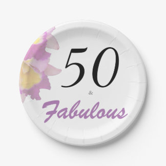 50 and Fabulous 50th Birthday Party Paper Plates