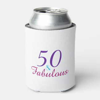 50 and Fabulous 50th Birthday Pink Blue Purple Can Cooler