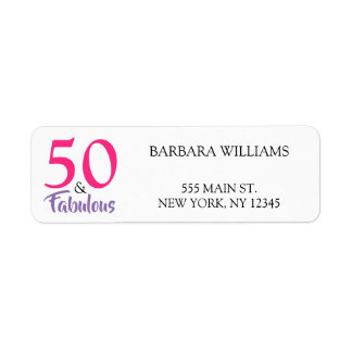 50 and Fabulous 50th Birthday Return Address Label