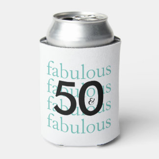 50 and Fabulous 50th Birthday Theme Can Cooler