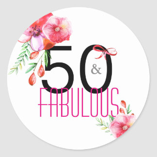 50 and Fabulous 50th Floral Birthday Party Classic Round Sticker