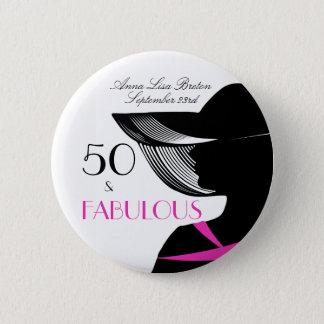 50 and Fabulous Art Deco Elegant 50th Birthday 6 Cm Round Badge