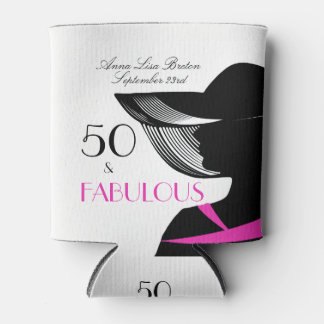50 and Fabulous Art Deco Elegant 50th Birthday Can Cooler