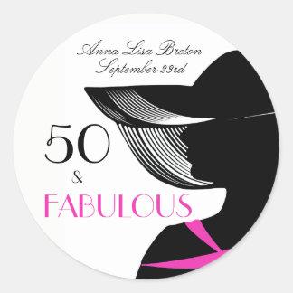 50 and Fabulous Art Deco Elegant 50th Birthday Classic Round Sticker