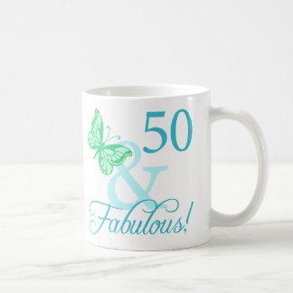 50 And Fabulous Birthday Gifts (Aqua) Coffee Mug