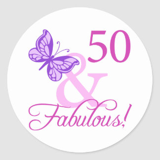 50 And Fabulous Birthday Gifts (Plum) Round Sticker