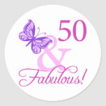 50 And Fabulous Birthday Gifts (Plum) Classic Round Sticker
