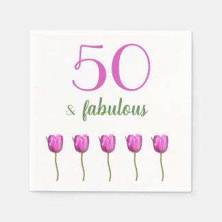 50 and Fabulous Birthday Napkin | Magenta Tulip Paper Napkin