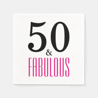 50 and Fabulous Birthday Paper Napkins