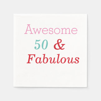 50 and Fabulous Birthday Paper party Napkins Disposable Napkin