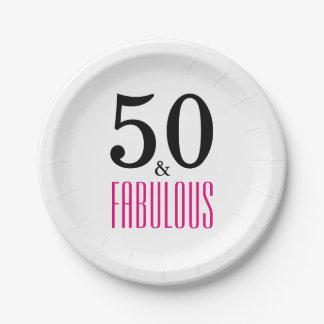 50 and Fabulous Birthday Paper Plate