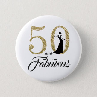 50 and Fabulous Birthday Party 6 Cm Round Badge