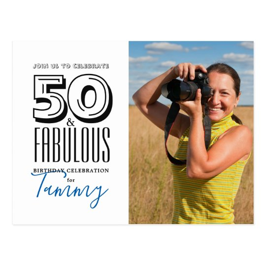 50 and Fabulous Birthday Party Invitation Postcard