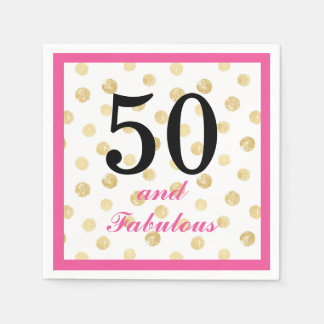 50 and fabulous birthday party paper napkin