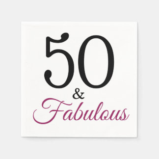 50 and Fabulous. Birthday Party Paper Napkins