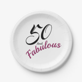 50 and Fabulous. Birthday Party Paper Napkins. Paper Plate