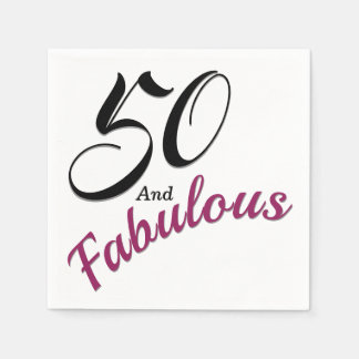 50 and Fabulous. Birthday Party Paper Napkins. Paper Serviettes